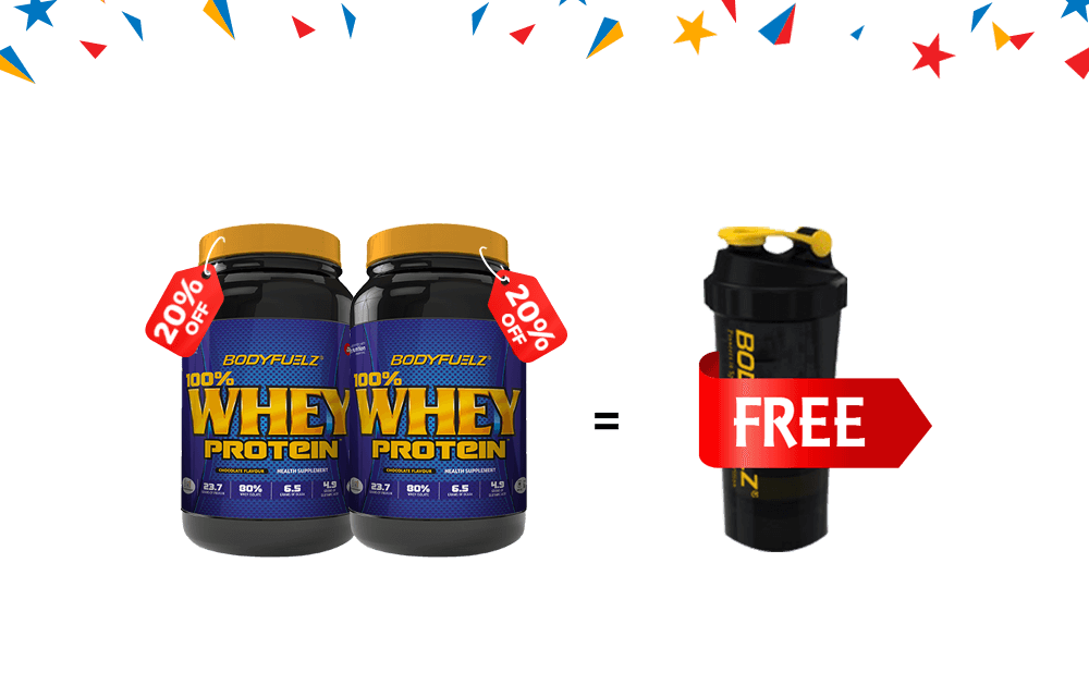 Buy 100% Whey Protein (2Nos)- 1 Shaker Free